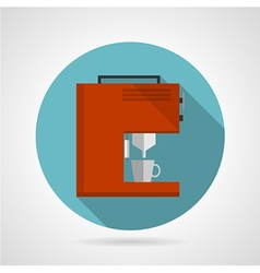 Flat color red coffee machine icon vector image vector image