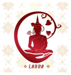 lanna buddha statue white background image vector image