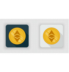 light and dark crypto currency icon ethereum vector image vector image