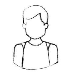 monochrome blurred contour with half body of vector image vector image