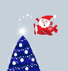 santa in air plane vector image