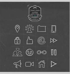 social media handmade icon doodle set vector image vector image