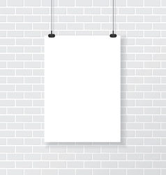 White poster on brick wall vector image vector image