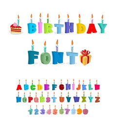 Birthday ABC holiday font for postcards letters vector image