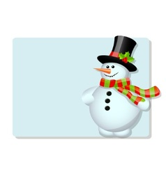 Blue card and snowman vector image vector image