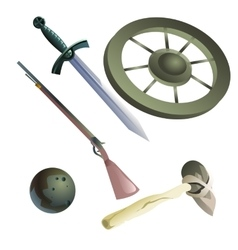 Collection of medieval and primitive weapons vector image vector image