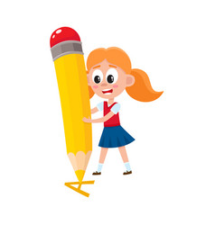 little girl writing letter a with giant pencil vector image
