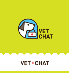 logo vet chat dog vector image