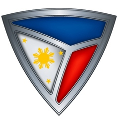 steel shield with flag philippines vector image