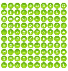 100 rafting icons set green circle vector