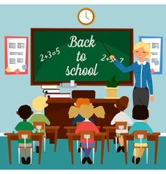 Back to School Classroom with children Teacher vector image