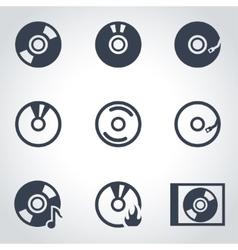 black cd icon set vector image