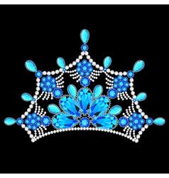 crown tiara women with glittering precious vector image vector image