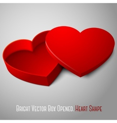 realistic blank red opened heart shape box For vector image vector image