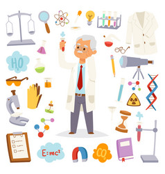 science man professor lab icons vector image