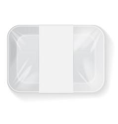 white rectangle blank styrofoam plastic food tray vector image vector image