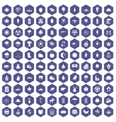 100 leaf icons hexagon purple vector