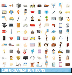 100 organization icons set cartoon style vector