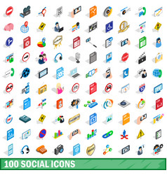 100 social icons set isometric 3d style vector