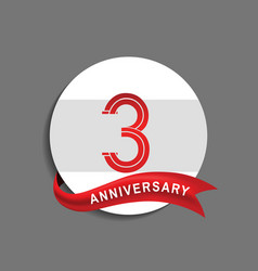 3 anniversary with white circle and red ribbon vector