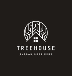 Abstract tree house logo icon template vector