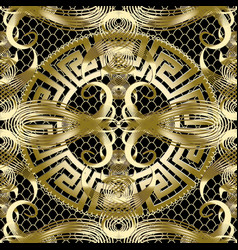 Ancient gold greek 3d seamless pattern vintage vector