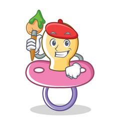 Artist baby pacifier character cartoon vector
