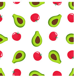 avocado and red tomato seamless pattern organic vector image