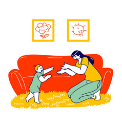 Baby making first step toddler and mother spare vector