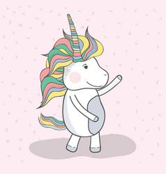 Beautiful unicorn dancing with mane long vector
