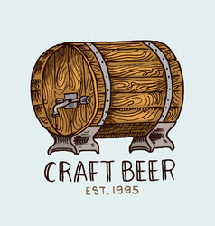 beer barrel in vintage style alcoholic label vector image