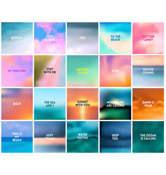 big set 20 square blurred nature backgrounds vector image