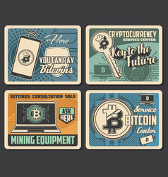 bitcoin mining cryptocurrency and digital money vector image