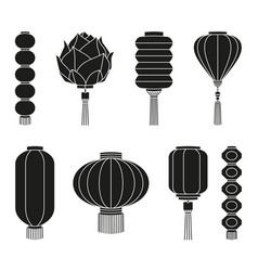 Black and white chinese lantern silhouette set vector