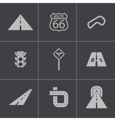 Black road icons set vector