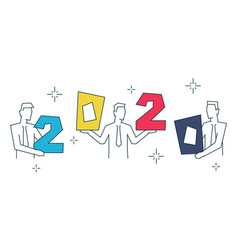 businessmen holding color numbers 2020 on white vector image