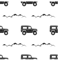 camping pattern design - adventure retro car and vector image