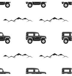 camping pattern design - adventure retro car vector image