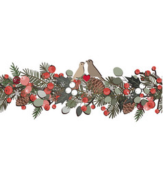 christmas seamless garland with fir tree branches vector image