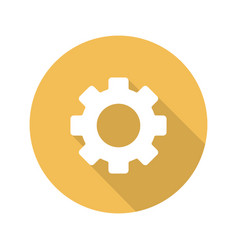 Cogwheel flat design long shadow icon vector