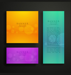 Colorful banner design in three different sizes vector