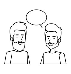 couple of men with speech bubble vector image