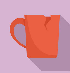 Cracked cup icon flat style vector