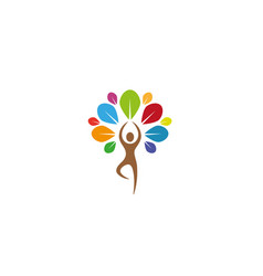 creative yoga tree lotuslogo design symbol vector image
