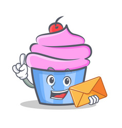 Cupcake character cartoon style with envelope vector