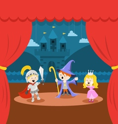 Cute Little Kids Theater Performance vector