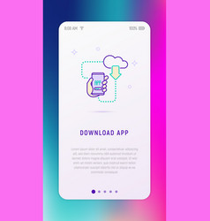 download app on smartphone from cloud concept vector image