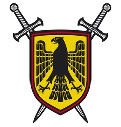 Eagle and crossed swords coat arms vector