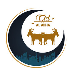 Eid al adha celebration card with moon and lambs vector