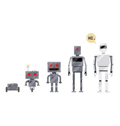 Evolution of robots stages of android development vector